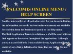 nalcomis online menu help screen63