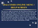 nalcomis online menu help screen64