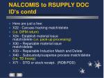 nalcomis to rsupply doc id s contd
