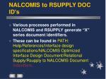 nalcomis to rsupply doc id s
