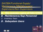 sa dba functional supply maintenance dba managers supervisors non supervisors