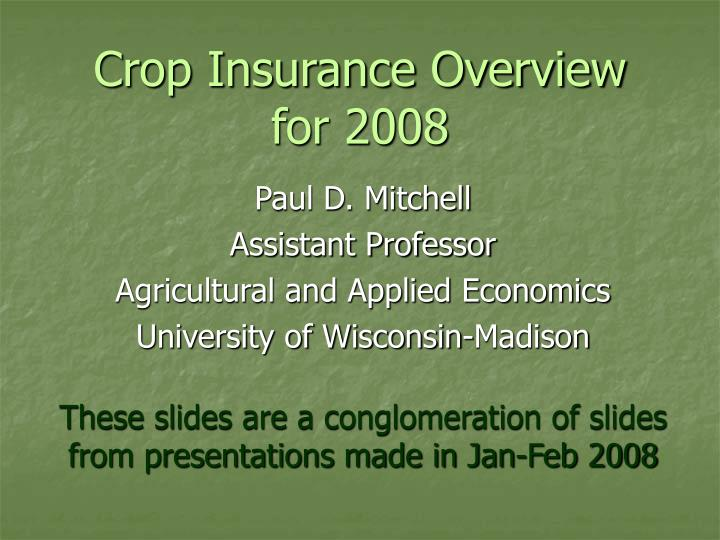 crop insurance overview for 2008 n.