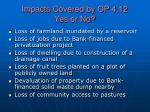 impacts covered by op 4 12 yes or no