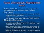 types of involuntary resettlement urban