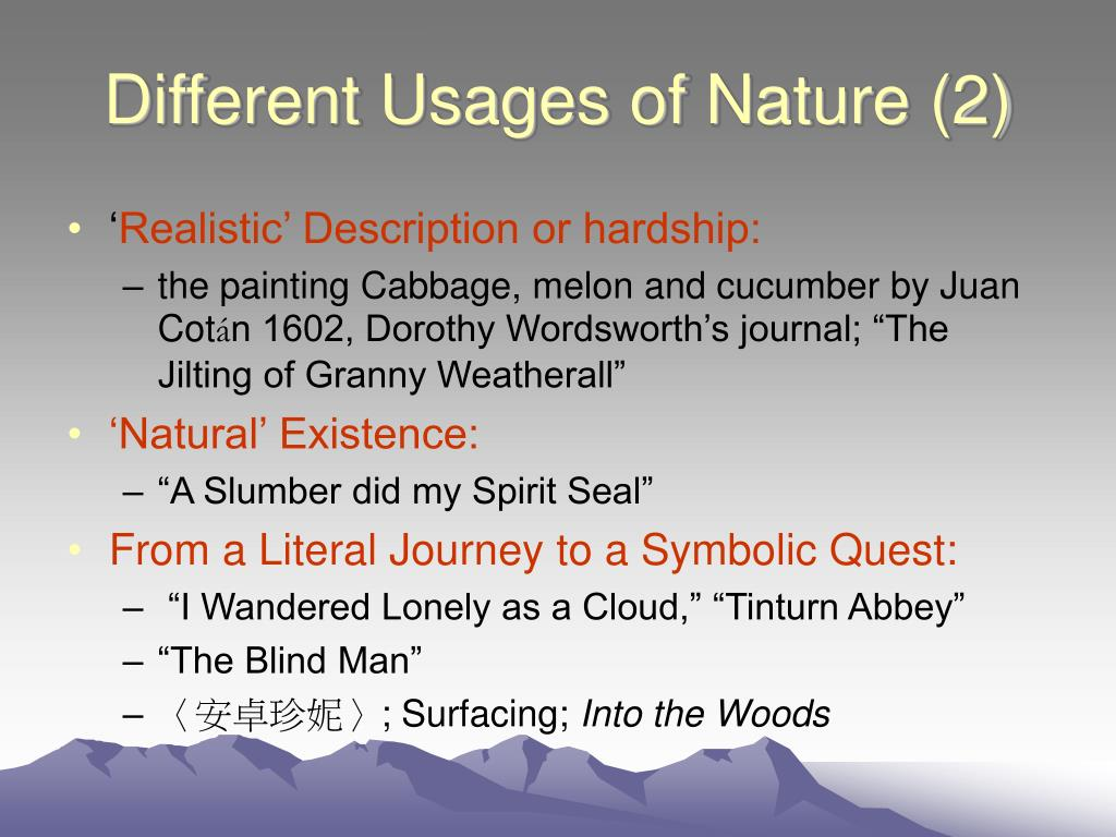 Different Usages of Nature (2)