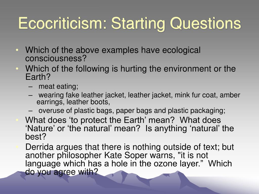 Ecocriticism: Starting Questions