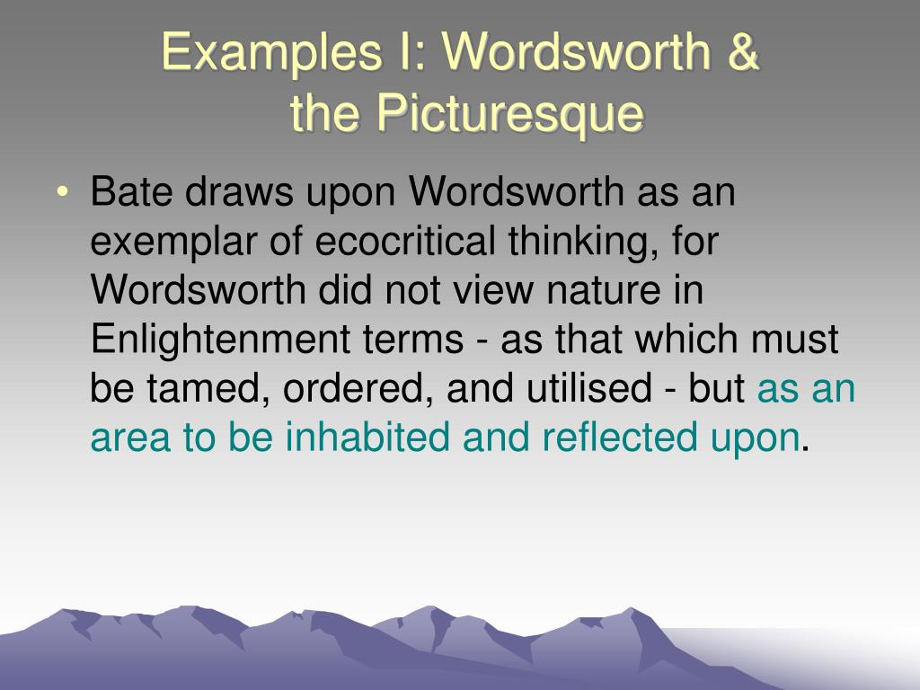 Examples I: Wordsworth &