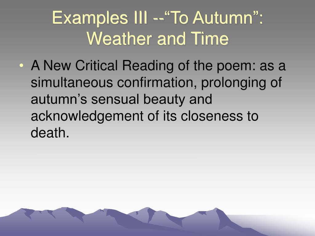 "Examples III --""To Autumn"": Weather and Time"