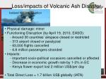 loss impacts of volcanic ash disaster