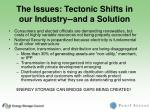 the issues tectonic shifts in our industry and a solution