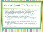 germinal period the first 14 days