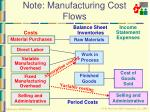 note manufacturing cost flows