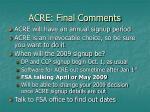 acre final comments