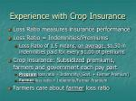 experience with crop insurance