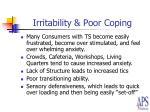 irritability poor coping