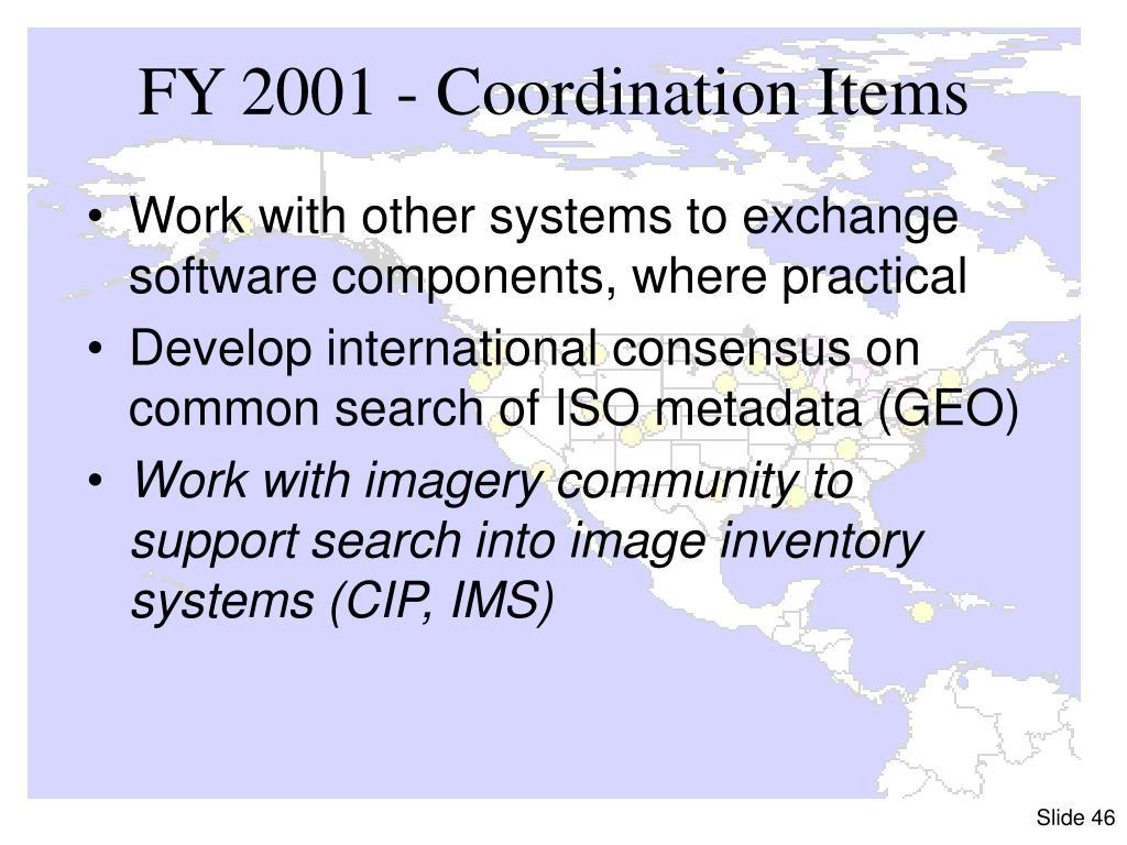 FY 2001 - Coordination Items