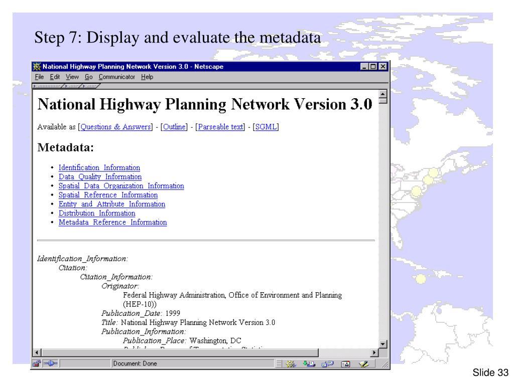 Step 7: Display and evaluate the metadata