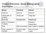 citation elements basic bibliographic information refer to this chart in reader while we continue