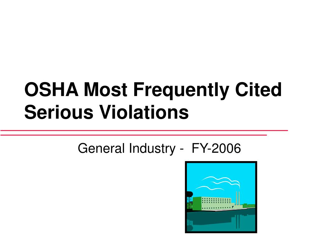 osha most frequently cited serious violations l.
