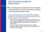 crc screening guidelines what s new
