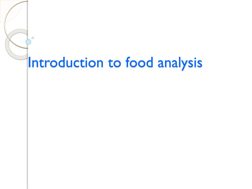 introduction to food analysis l.