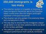 250 000 immigrants is too many