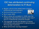 cic has attributed continuing deterioration to it bust