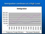 immigration continues at a high level