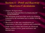 section 4 pond and raceway heat loss calculations