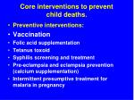 core interventions to prevent child deaths