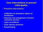 core interventions to prevent child deaths54