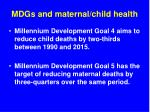 mdgs and maternal child health