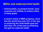 mdgs and maternal child health51