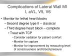 complications of lateral wall mi i avl v5 v6