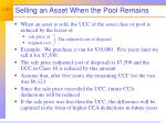 selling an asset when the pool remains