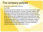 the company policies