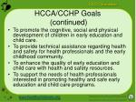 hcca cchp goals continued