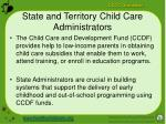 state and territory child care administrators