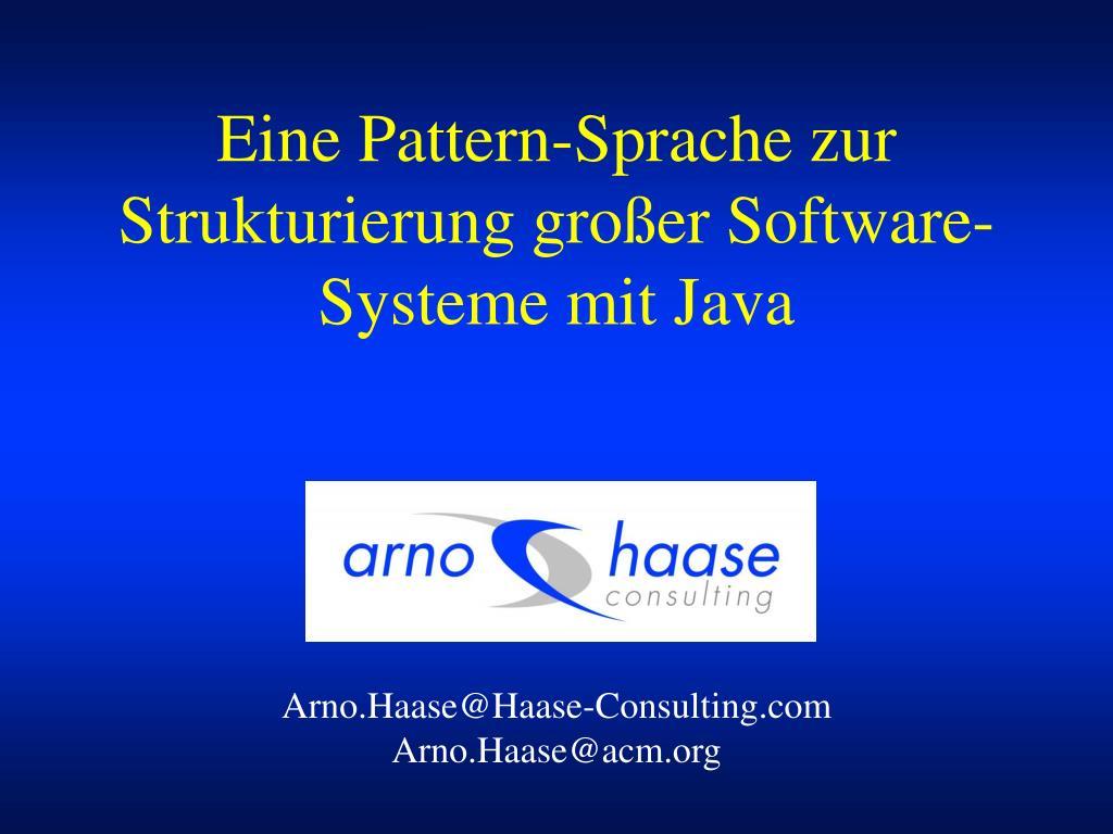 eine pattern sprache zur strukturierung gro er software systeme mit java l.