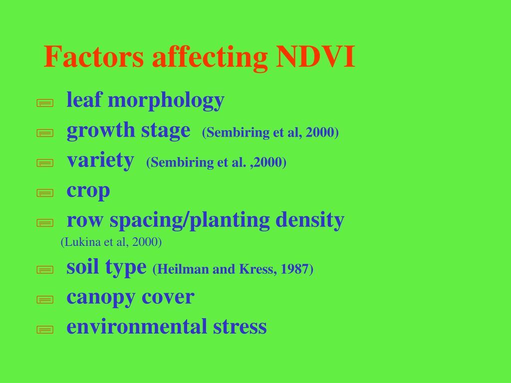 Factors affecting NDVI