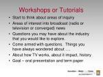 workshops or tutorials4