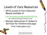 levels of care resources