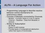alfa a language for action