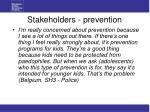 stakeholders prevention