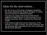 ideas for the intervention