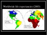worldwide life expectancies 2003