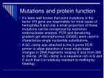 mutations and protein function