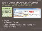 step 4 create tabs groups controls commands for styling text scenario