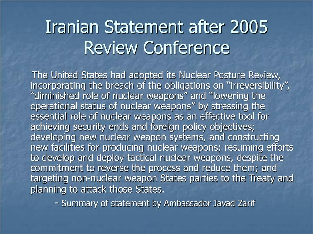 Iranian Statement after 2005 Review Conference