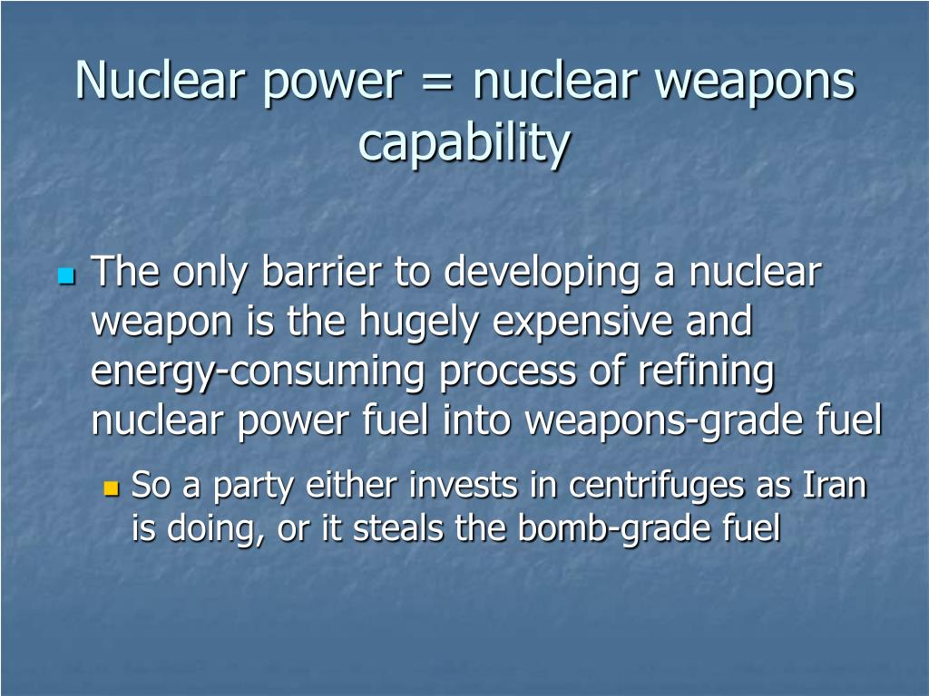 Nuclear power = nuclear weapons capability